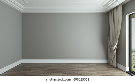 empty room interior design background with curtain 3D rendering
