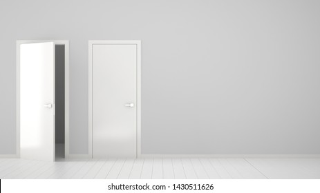 Empty room interior design with open and closed doors with frame, door handles, wooden white floor. Choice, decision, selection, option concept idea with copy space, 3d illustration