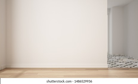 Empty room interior design, open space with white walls and parquet wooden floor, modern contemporary architecture, morning light, mock-up with copy space, 3d illustration