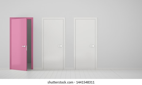 Empty room interior design with two white closed doors and one open pink door with frame, wooden white floor. Choice, decision, selection, option concept idea with copy space, 3d illustration