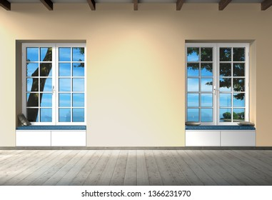 empty room interior design with wooden floor, ceiling with beams, windows and copy space for images, photos or art work - 3D rendering