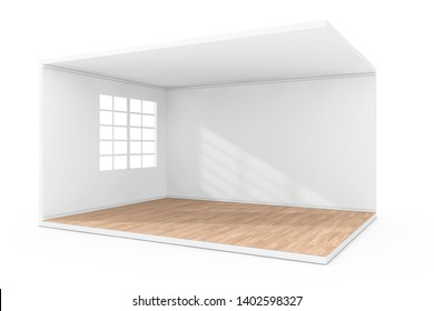 Empty Room Interior with Large Window and Wooden Parquet Floor on a white background. 3d Rendering