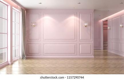 Empty room interior pastel pearl pink, classic style, studio mock-up, 3D render 3D illustration