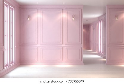 Empty room interior pastel pearl pink, classic style, studio mock-up,  3D illustration