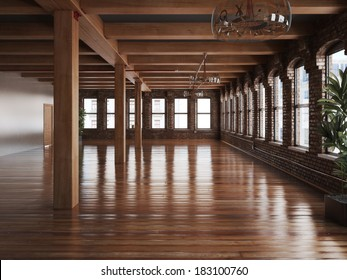 Empty room interior of a residence or office space with rustic timbers and wood floors.