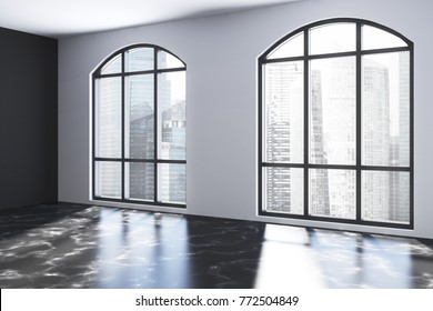 Empty room interior with white and black walls, a black marble floor and large windows with a cityscape. 3d rendering mock up