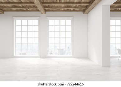 Empty room interior with white walls, a wooden floor and ceiling and large loft windows. 3d rendering mock up