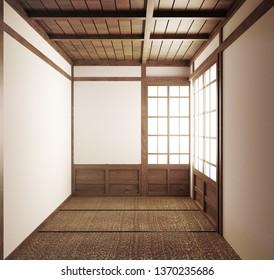 empty room japanese tatami mats and paper sliding doors called Shoji.3D rendering