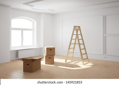 Empty room with ladder and boxes moving out