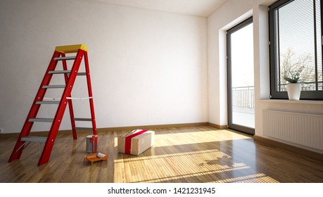 empty room with ladder and painters utensils (3d rendering)