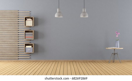 Empty room with little bookcase,coffe table with open book and flower - 3d rendering