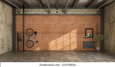 Empty room in a loft with bicycle hanging on brick wall and old radiator - 3d rendering