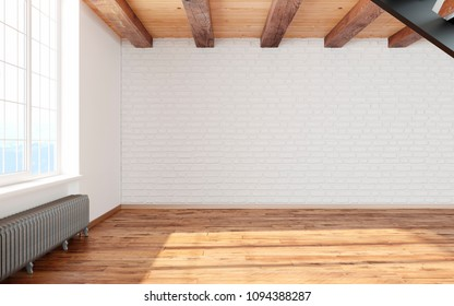 Empty room loft interior with big window white walls, bricks,  wooden beams and floor. 3d render illustration mock up.