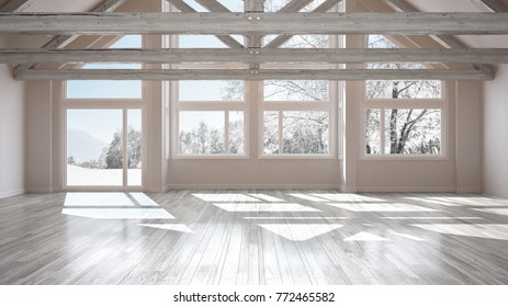 Empty room in luxury eco house, parquet floor and wooden roof trusses, panoramic window on winter meadow, modern white architecture interior design, 3d illustration