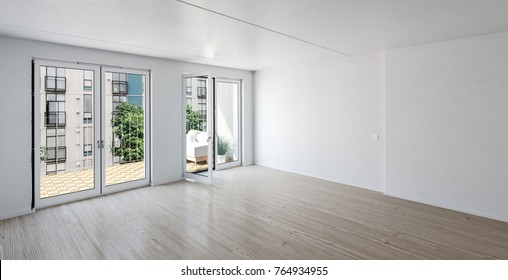 Empty room in a luxury urban apartment with glass doors onto a patio, white walls and wood parquet floor, 3d rendering