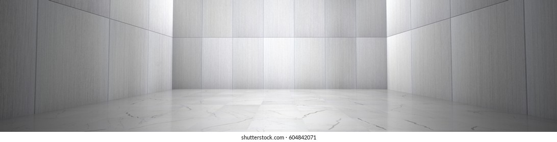 Empty Room With Marble Floor and Metallic Wall Panels (3d illustration)