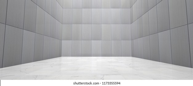 Empty Room With Metal Wall Panels and Polished Marble Floor (Detail 3D Illustration)