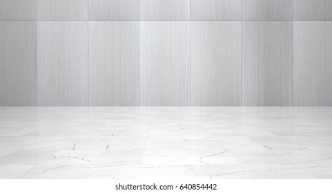 Empty Room With Metal Wall Panels and Polished Marble Floor (3d illustration)