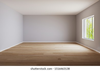 Empty room for mockup. Empty roon with light wall and wooden floor.3d rendering.