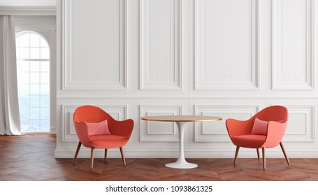 Empty room modern classic interior with white walls, red armchairs, table, curtain and window. 3d render illustration.