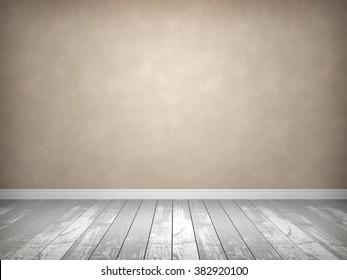 Empty room with old wood floor