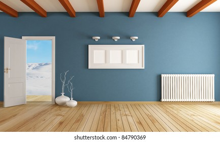 empty room with open door in a mountain home - rendering - the image on background is a my photo-
