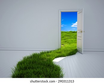 Empty room with opened door and green grass path to the field