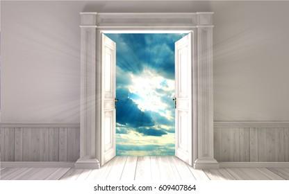 Empty room with opened door.3d rendering