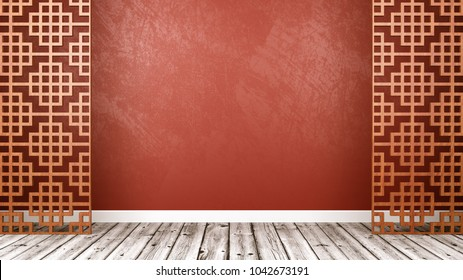 Empty Room with Oriental Style Wooden Lattice Partition, Wooden Floor and Red Wall with Copy Space 3D Illustration