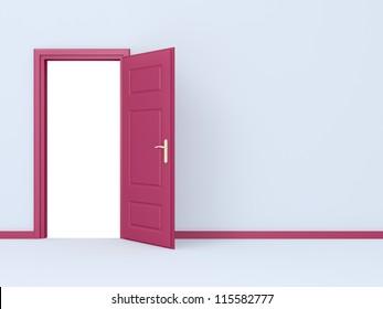 Empty room, pink opened door in gray wall.