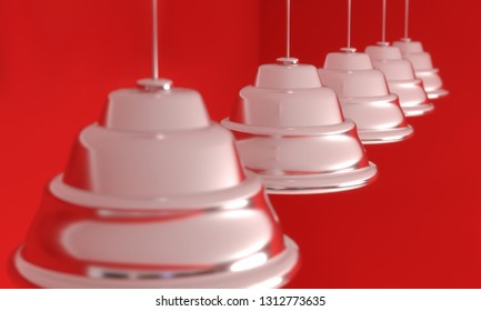 Empty room red coral walls and inox spot lights. 3D render