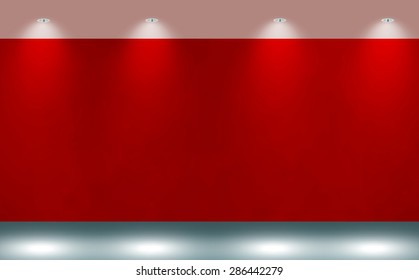 empty room, red wall background with light spots