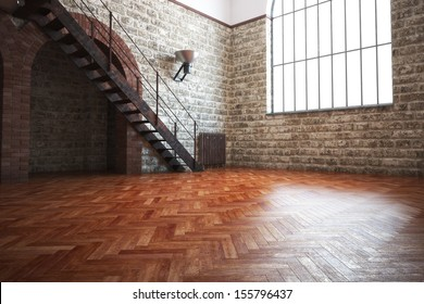 Empty room with rustic finishes of a residential interior or office space