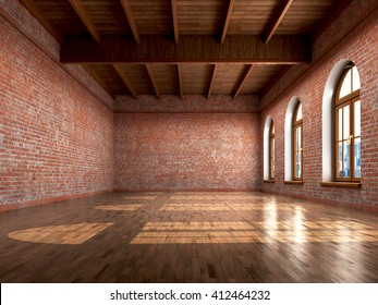 Empty room with rustic finishes of a residential interior or office space. 3d illustration