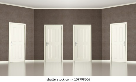 Empty room with slanted wall with four  doors- rendering