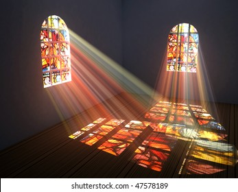 Empty room with stained windows