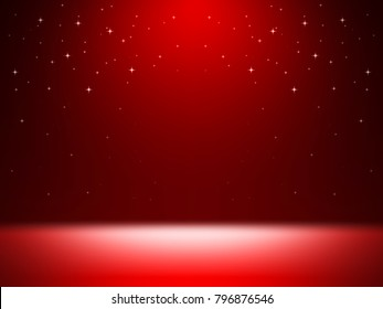 empty room studio abstract background for presentation with red light color and star