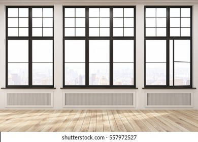 Empty room with three large windows in a beige wall. Wooden floor. Heating. Concept of a comfortable house. 3d rendering.