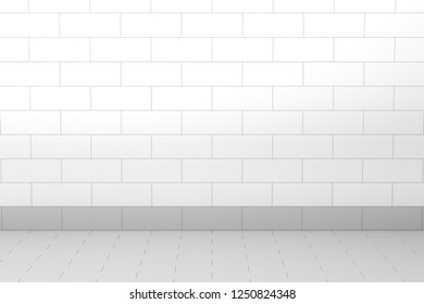 Empty room with tiled wall and floor, 3D illustration