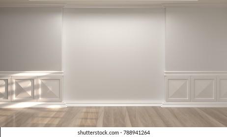 empty room vintage style 3d rendering luxury living room modern mid century room interior home minimal design