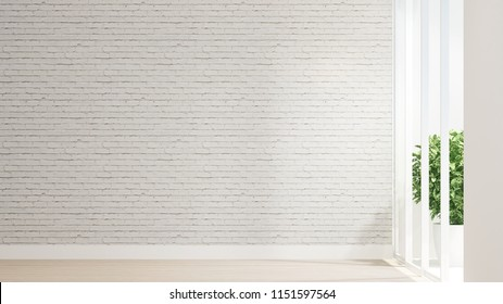 Empty room and white brick wall decorate design for artwork. Wood floor and white brick wall space for add message or decoration artwork. Interior simple design. 3D Rendering