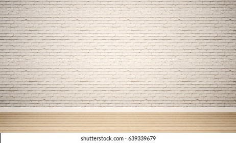 empty room and white brick wall in apartment or home - 3D Rendering
