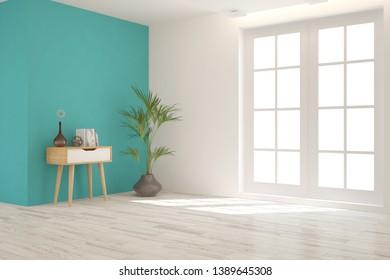 Empty room in white color. Scandinavian interior design. 3D illustration