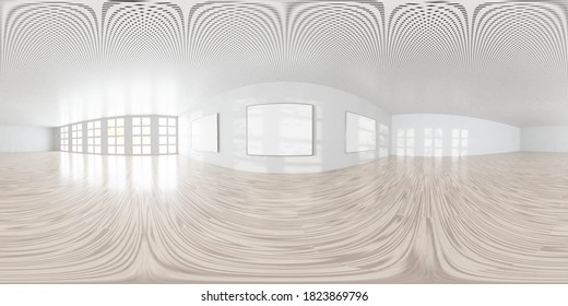 empty room with white walls art gallery wall with empty picture frames3d rendering illustration 360 equirectangular panorama
