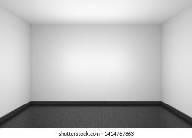 Empty room with white walls and ceiling, black hardwood parquet floor and soft light, simple minimalist interior architecture background with copy-space, 3d illustration.