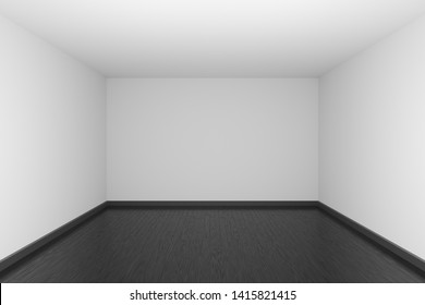 Empty room with white walls and ceiling and black wood parquet floor and soft light, simple minimalist interior architecture background with copy-space, 3d illustration.