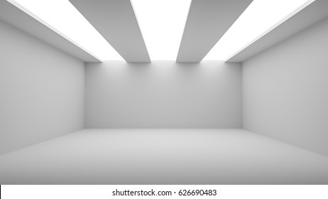 Empty room with white walls, floor and ceiling and with opening in ceiling for lighting, 3d illustration