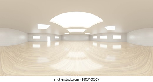 empty room with white walls and wooden floor interior 3d rendering illustration 360 equirectangular panorama