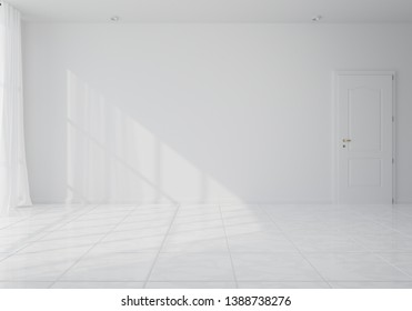Empty room with whitewashed floating laminate flooring and newly painted white wall in background. 3d rendering
