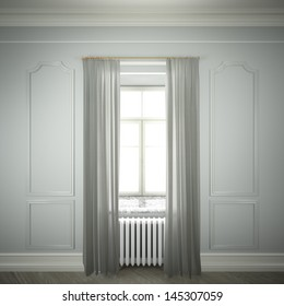 empty room with window and curtains